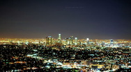 Stock Video Footage of Time Lapse of Downtown LA City Grid at Night - Clip 2