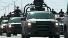 Mexican Police Convoy (HD) co Stock Footage