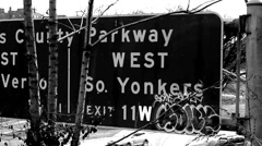 Yonkers, NY City Traffic Black & White Stock Footage