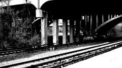 Train Black & White Slow-MO Stock Footage