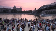 People dance on embankment of Moscow river Stock Footage