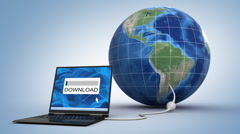 laptop downloading the world - 3d animation - stock footage