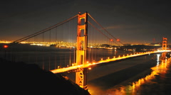 Panning Time Lapse of the Golden Gate Bridge at Night San Francisco - Clip 1 Stock Footage