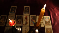 Candles Tarot Cards 02 dolly - stock footage