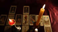 Stock Video Footage of Candles Tarot Cards 02 dolly