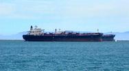 Cargo Ship In Long Beach, CA Harbor 2 Stock Footage
