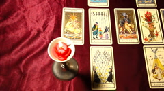 Tarot Cards Candles 01 dolly right Stock Footage