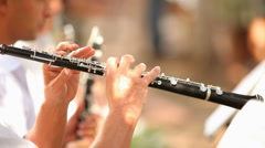 Flutists in the orchestra - stock footage