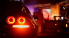 Rear lights car Stock Footage