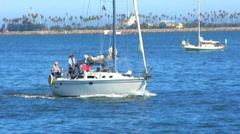Sailboat In Long Beach, CA Harbor 1 Stock Footage