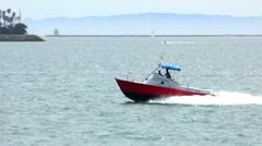 Speeding Harbor Patrol Boat In Long Beach Harbor Stock Footage