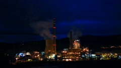 Stock Video Footage of Power station at night. Heavy smoke industry. Time lapse.