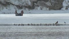 P01375 Ice Fishing on Missouri River Stock Footage