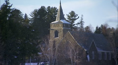 CTY-0006 Zoom Out of Church in Winter Stock Footage