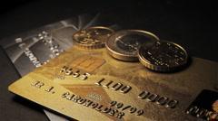 Money: dollar, euro, credit card Stock Footage