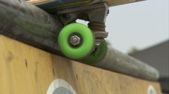 EXT-0002 Skateboard Rail Closeup Stock Footage