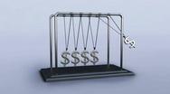 Pentulum silver dollars Stock Footage