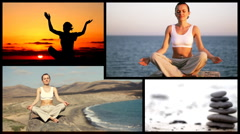 Montage of attractive woman meditating and zen stones, outdoors Stock Footage