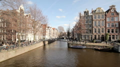 Medieval houses in Amsterdam citycenter the Netherlands - hdr Stock Footage