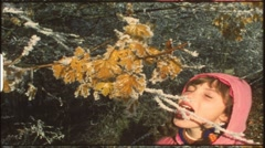 Children eating ripe from winter tree (vintage 8 mm amateur film) - stock footage