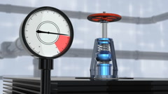 Gas tap with manometer - stock footage