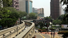 Monorail Modern Urban Transportation, Aerial View of Kuala Lumpur, Malaysia Stock Footage