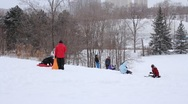 Kids Toboggan Stock Footage
