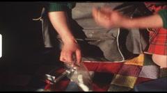 Packing backpack (vintage 8 mm amateur film) - stock footage