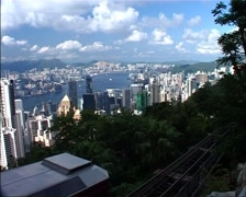Hong Kong Skyline from Victoria Peak with Tram Passing_GFSD - stock footage