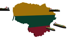 Lithuania map flag with container ships departing animation Stock Footage
