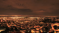 City of San Francisco at Night from Twin Peaks - Clip 1 - stock footage