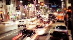 Traffic on Hollywood Boulevard in Los Angeles at Night, Time Lapse Stock Footage