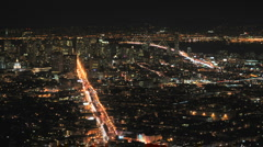 City of San Francisco at Night from Twin Peaks Stock Footage
