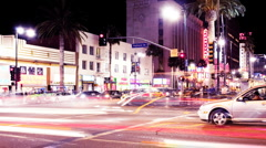 Hollywood Boulevard and Los Angeles Traffic at Night - Time Lapse - stock footage