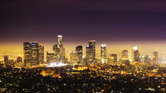 Los Angeles City Skyline at Night, time lapse Stock Footage