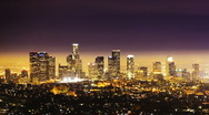 Stock Video Footage of Los Angeles at Night, time lapse