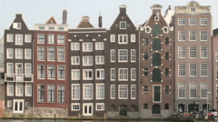 Medieval houses in Amsterdam the Netherlands Stock Footage