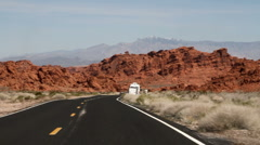 Driving across the valley of fire state park in Nevada Stock Footage