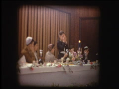 Prayer over candles at Passover Seder Stock Footage