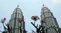 View of Petronas Twin Towers in Kuala Lumpur, Malaysia, Skysrapers, Highest Twin Footage