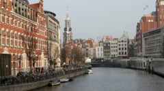 Amsterdam with the Munt tower in the Netherlands Stock Footage