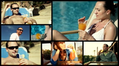 Montage of young man and woman drinking exotic drink in summer time Stock Footage