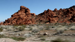 Red rock formation at the valley of fire state park in Nevada Stock Footage
