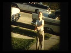 Cute little blonde boy plays catch Stock Footage