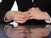 Putting on wedding ring. SD. Stock Footage