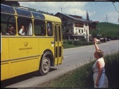 Stock Video Footage of 1960s bus departing, waving goodbye (vintage 8 mm amateur film)