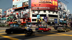 Colorful Street in Shopping District of Kuala Lumpur, Malaysia, Monorail Station Stock Footage