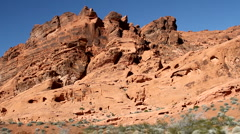 Red rock formation at the valley of fire state park in Nevada - stock footage