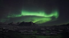 Northern Lights - Arctic winter landscape - MAGNETIC STORM - stock footage