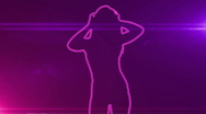 Ser-26 - neon outlined gogo dancer silhouette in pink with lens flares Stock Footage